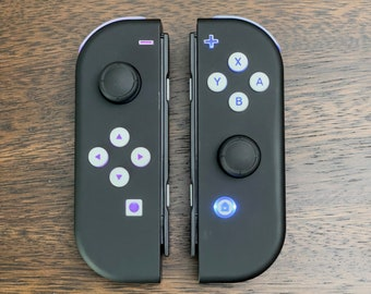 Custom Joy-Con LED MOD Black with White Backlit Buttons Nintendo Switch Customized Controllers