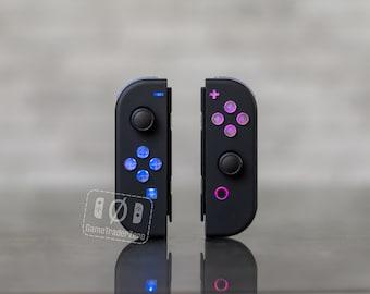 Custom Nintendo Switch Joy-Con Controllers Black LED MOD Backlit Buttons