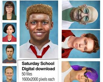 Saturday School -Digital Download- 90s Cartoon Portraits