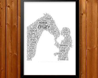 Personalised Horse Lover Gifts Word Art Wall Print - Equestrian - Digital Showjumping Dressage Gift Word Art Wall Room Prints