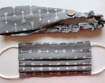 Handmade Headband & Face Mask Arrow Print Grey Set