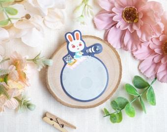 Glitter Sticker • Ruby on the Moon | Cute Sticker | Die-cut Sticker | Kawaii Laptop Decal | Matte Vinyl | Planner Sticker | Bujo | Rabbit