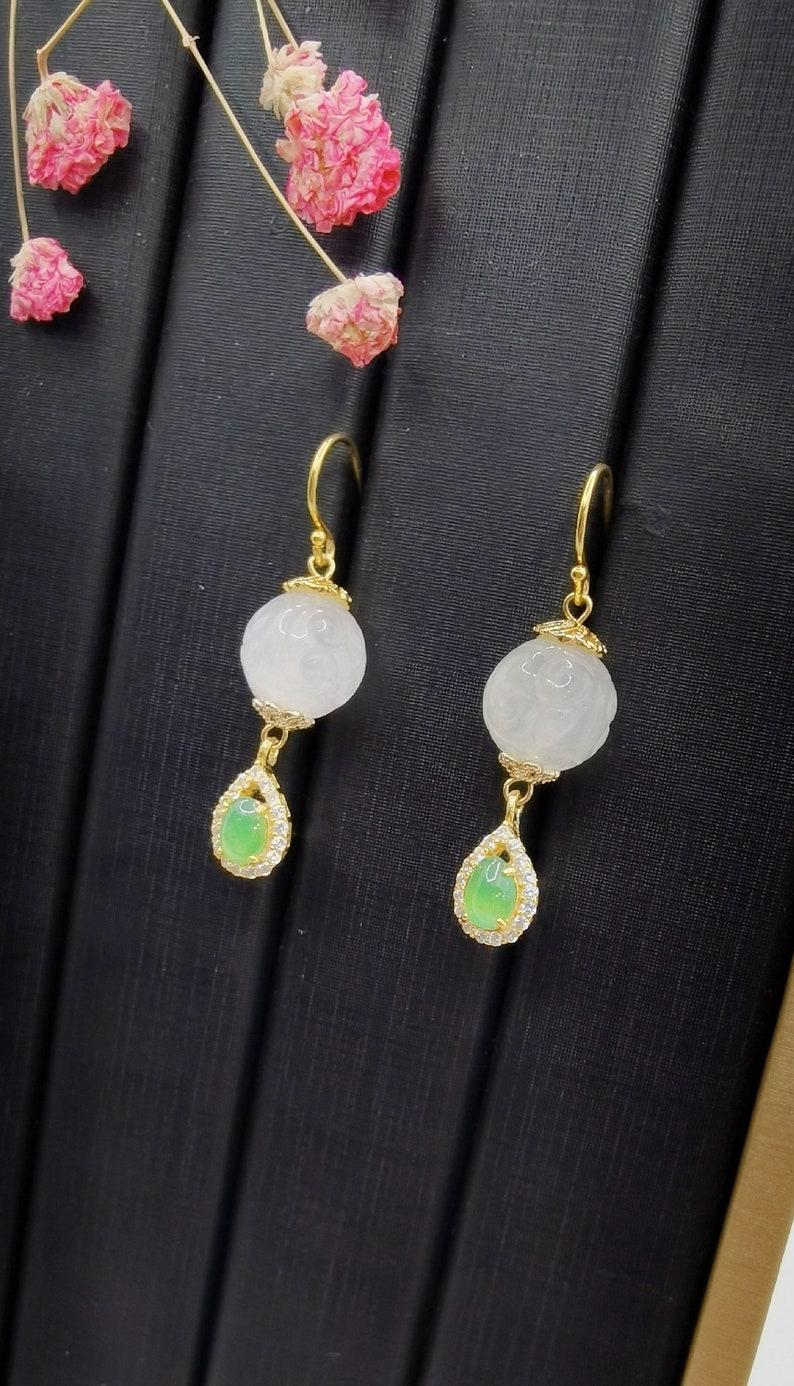 Myanmar Grade A Green Jadeite Natural Stone, Precious Stone, Gemstone Carved Moonstone Dangling Earring