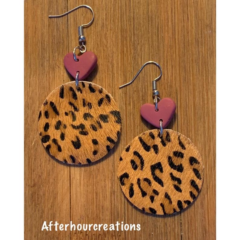 Leopard Print Teardrop Metal Earrings ~ Animal Kingdom Earrings~ Heart /& Leopard Print Drop Earrings ~