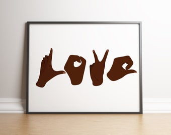 Sign language print | Black Hands of love | Illustration | Home decor | hands print | Love print | above bed decor (Frame not included)