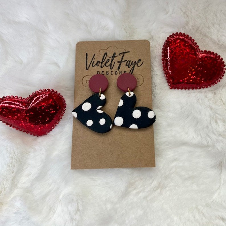 Holiday Polymer Clay Earrings Valentine/'s Day Statement Earrings Gifts Handmade Valentine/'s Day Actually Love Drop Earrings
