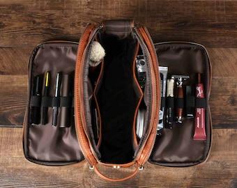 Personalized Gift Groomsmen Toiletry Bag, Travel Dopp Kit Bag, Water-resistant Bathroom Toiletries Organizer, PU Leather Cosmetic Bags