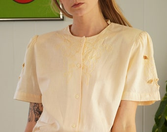 Embroidered Cutout Blouse Puff Sleeves Linen Cotton Butter Yellow Cutwork Blouse Floral Cut Out Top 80s Short Sleeve 1980s Button Up SM