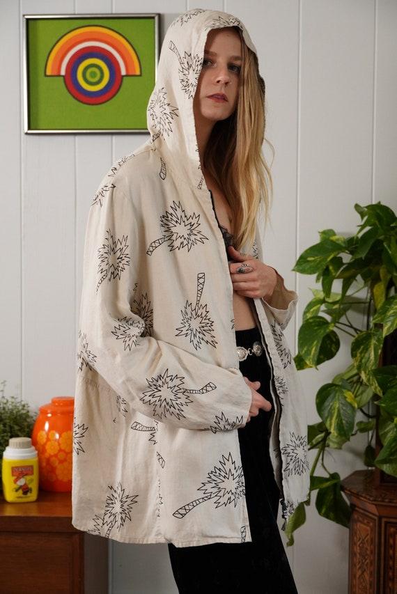 Unisex Hooded Linen Jacket, Zip Up Linen Jacket Wi