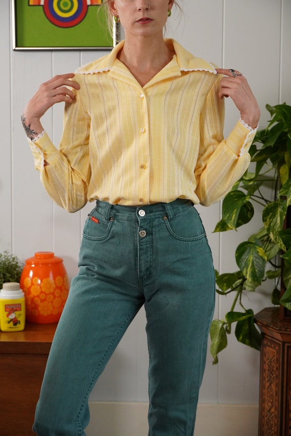 70s butter yellow woven blouse shirt lace trimmed… - image 7