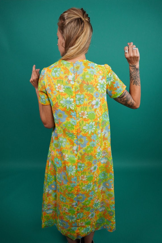 60s Vintage Psychedelic Maxi Dress, Psychedelic M… - image 9