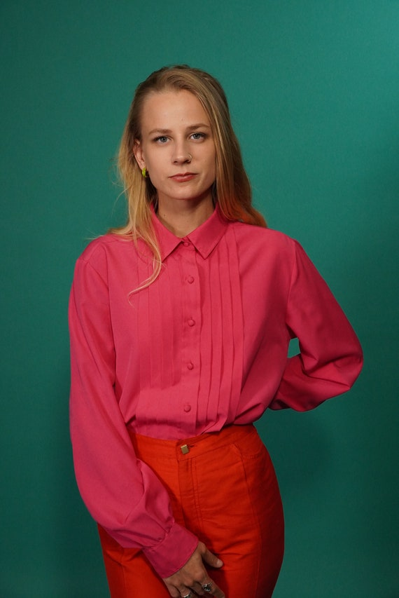 80s Hot Pink Pleated Secretary Blouse Button Up, 1