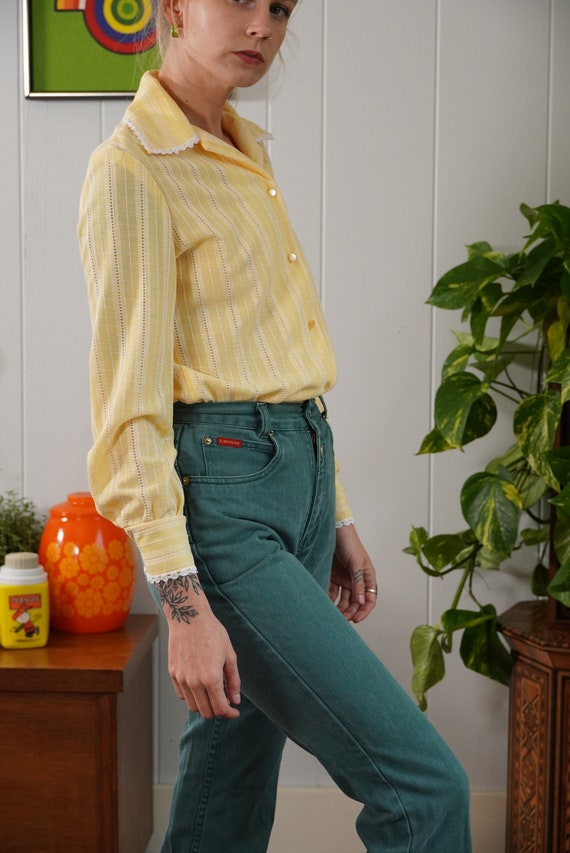 70s butter yellow woven blouse shirt lace trimmed… - image 2