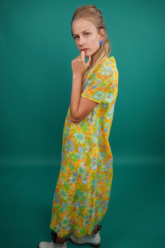 60s Vintage Psychedelic Maxi Dress, Psychedelic M… - image 5