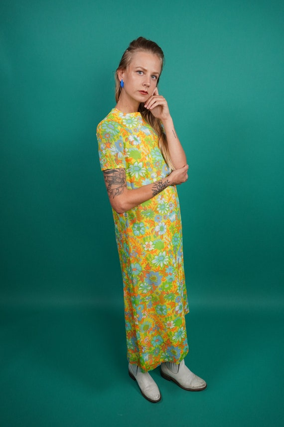 60s Vintage Psychedelic Maxi Dress, Psychedelic M… - image 2