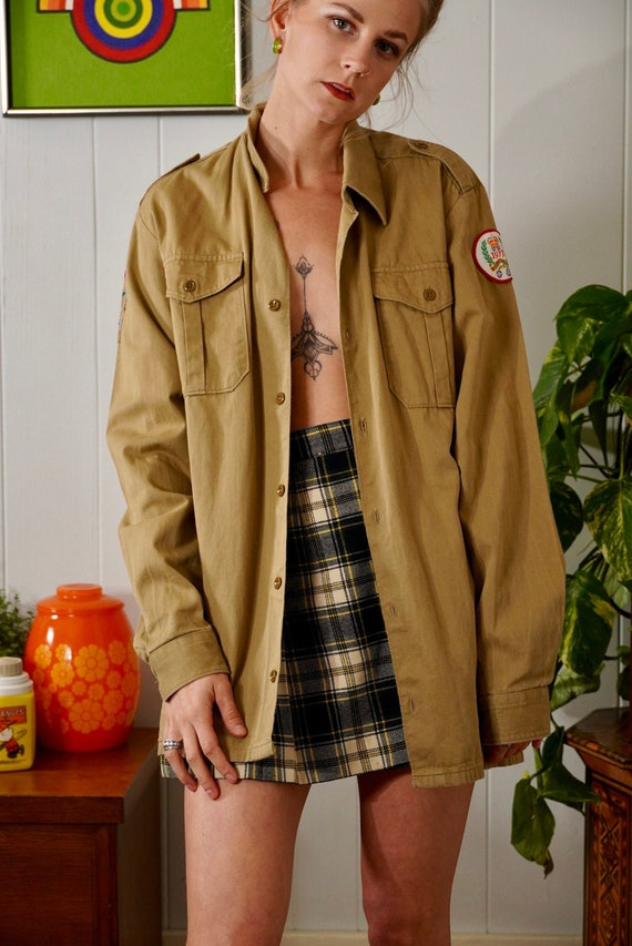 70s Vintage Boy Scout Jacket Shirt Uniform With Vi