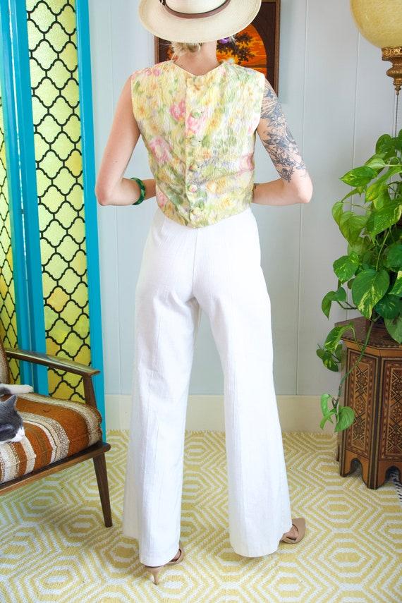 White Palazzo Pants 70s High Waisted Wide Leg Lin… - image 8