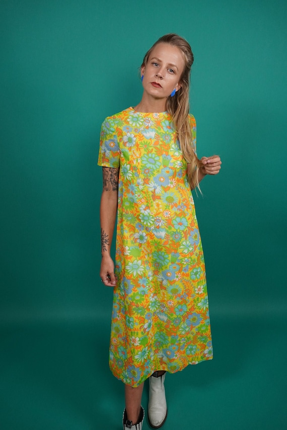 60s Vintage Psychedelic Maxi Dress, Psychedelic Ma