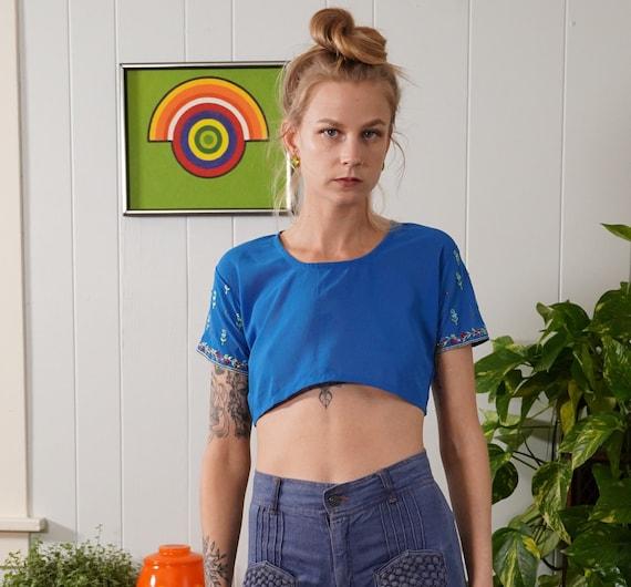 Ursula of Switzerland Blue Sheer Cover Up Crop Top