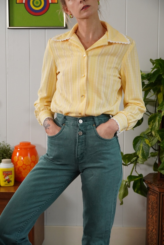 70s butter yellow woven blouse shirt lace trimmed… - image 3