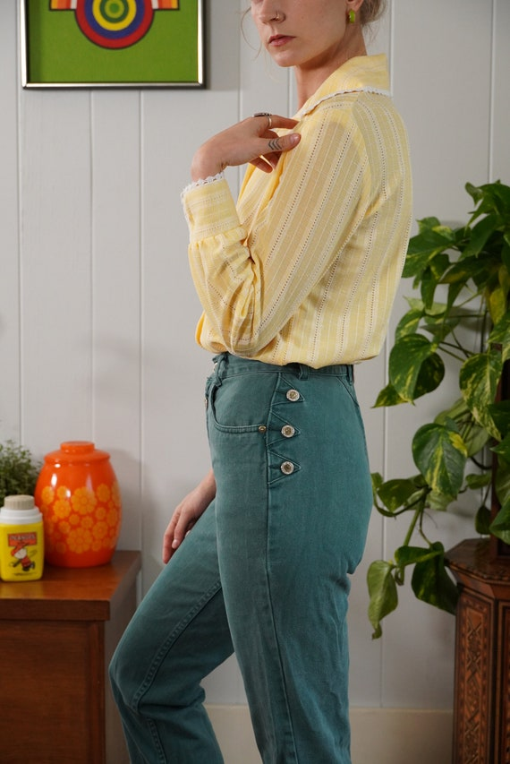 70s butter yellow woven blouse shirt lace trimmed… - image 5