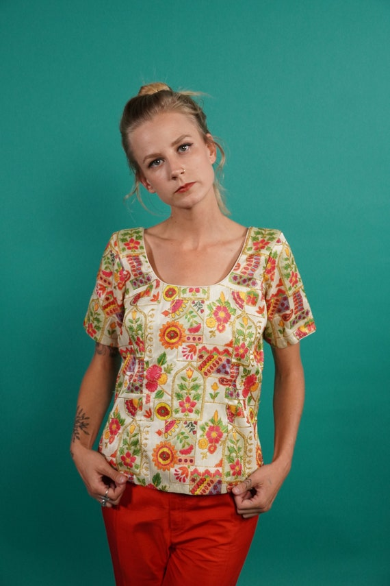 1970s Blouse, 1960s Blouse, Embroidered Blouse, Ps