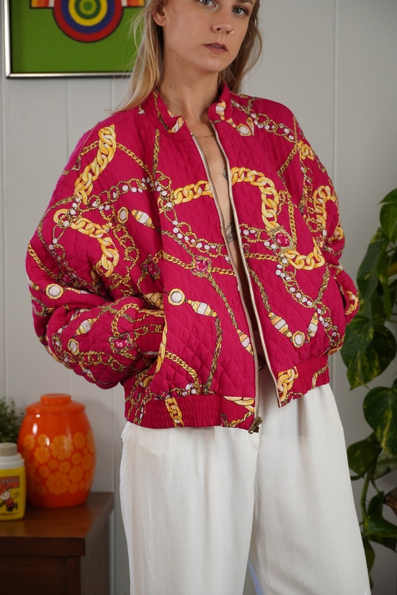 Pink Baroque Bomber Jacket 90s Jewelry Print Jack… - image 2