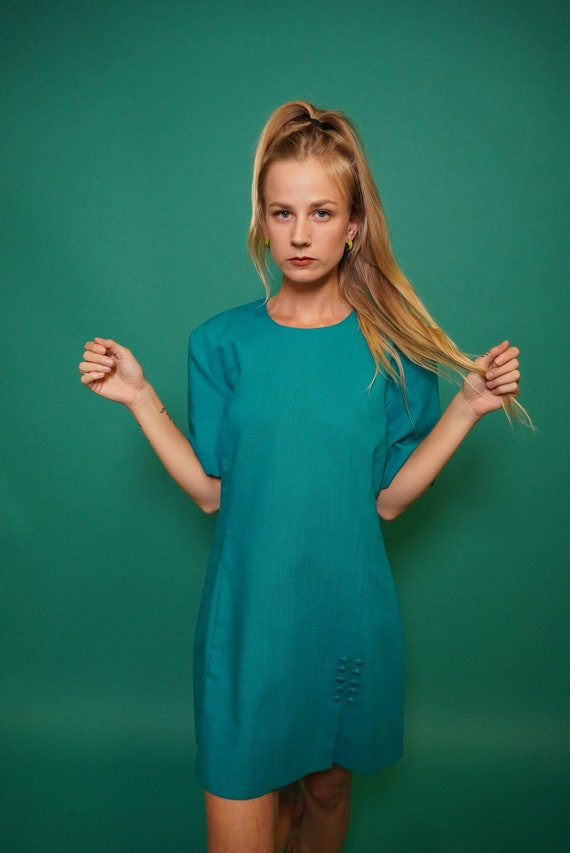 90s Does 60s, Mod Dress, Teal Mod Dress, Vintage T