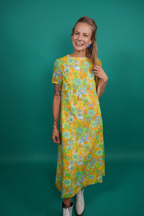 60s Vintage Psychedelic Maxi Dress, Psychedelic M… - image 4