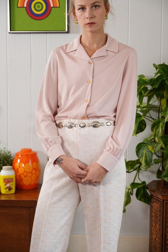 70s dusty rose pink sheer blouse shirt long sleeve