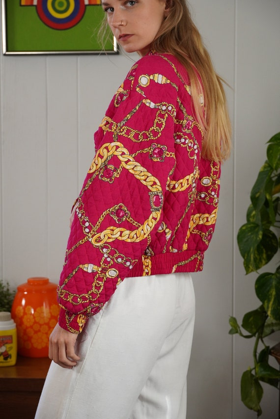Pink Baroque Bomber Jacket 90s Jewelry Print Jack… - image 5