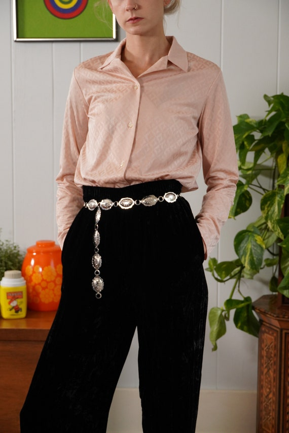 70s pink op art sheer blouse shirt long sleeve but