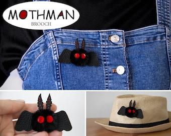 Mothman cryptid pin Moth plush brooch