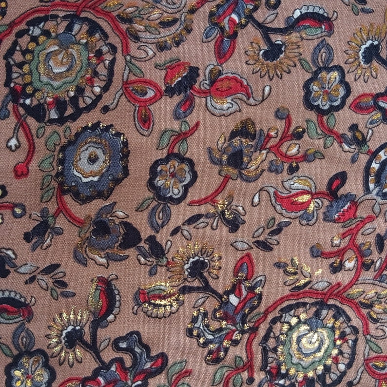 Gold Printed Crepe Fabric Paisley Design Crepe Fabric Iron /& Wrinkle Free Crepe Fabric Floral Silk Fabric Wedding Dress Crepe Fabric