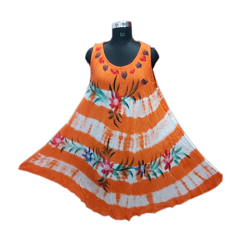 Floral Print Dress Hand Printed Dress Hand Print Dress Orange Rayon Woman Dress Girls Summer Dress Shibori Tie /& Dye Printed Dress