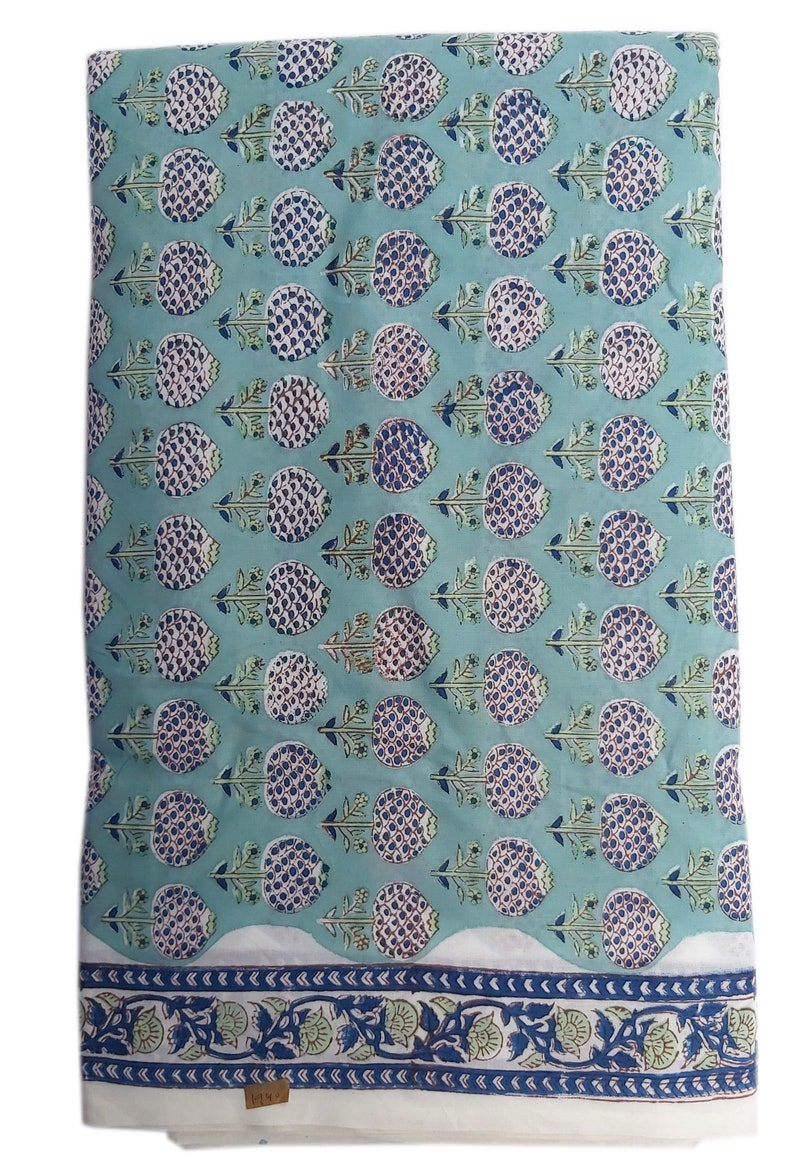 Indian Cotton Fabric Robe Cotton Fabric Hand Block Printed Fabric Cotton Vegetable Dyed Cotton Fabric Floral Print Board Design Fabric