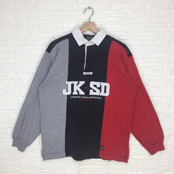Vintage Jumping Kids Button Down sweatshirt Large