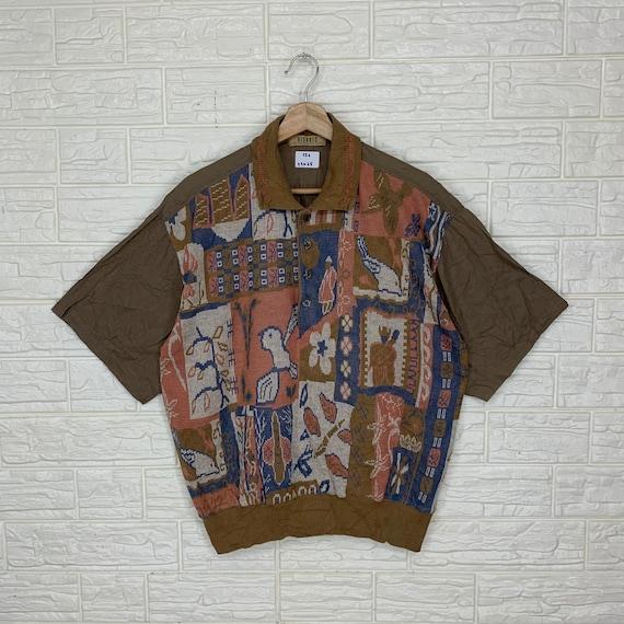 Vintage 80s Art Polo Tee L Size