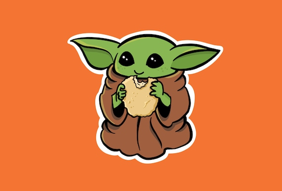 Baby Yoda Eating A Chicken Nugget Etsy