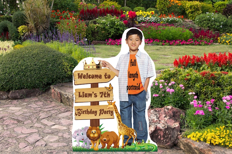 Personalize Wild One Board For Boy With Animal Custom Poster With Photo Digital Jungle Party Decor For Kids Safari Birthday Welcome Sign