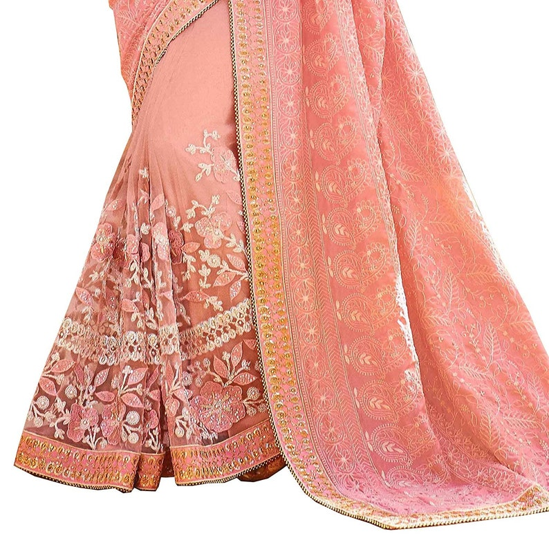 Indian Saree Georgette Embroidered Party Wear Saree Stitched Blouse Designer Sari Blouse Party wear Saree Ethnic Saree