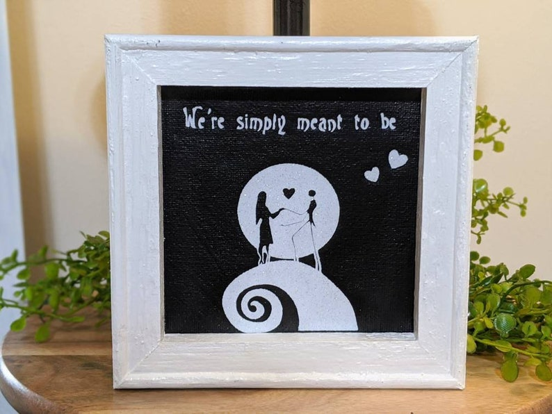Nightmare Before Christmas Jack and Sally Canvas  We/'re Simply Meant to be  Jack and Sally  Nightmare Before Christmas Tiered Tray Decor
