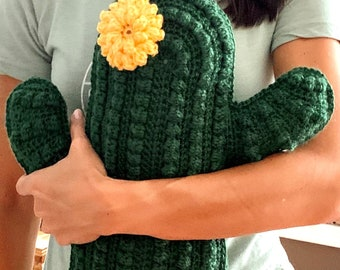 Cactus Pillow with Flower - Custom Color Options Available - Crochet