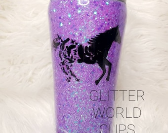 Horse Cup Glitter Horse and Barrel Tumbler Plum and Rose Gold Custom Equestrian Cup Stainless Steel Glitter