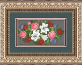 Pattern for cross-stitch quot Roses and lilies quot in a PDF file