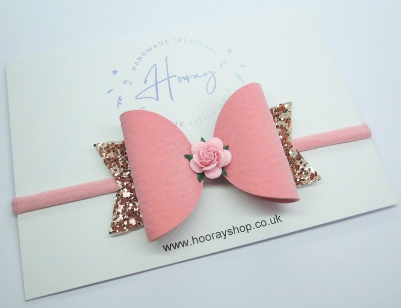 faux bows gifts for girls baby headband Pink suede bow girly gifts rose gold glitter bow baby bows ponytail bow faux suede hair bow