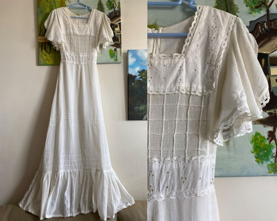 Vintage white lace prairie dress Size Small 1960s