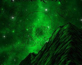 Art Print, Green Galaxy Landscape | Galaxy Print | Landscape Print