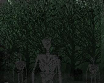"Art Print, ""Spooky Forest"" | Spooky Skeletons Art Print"