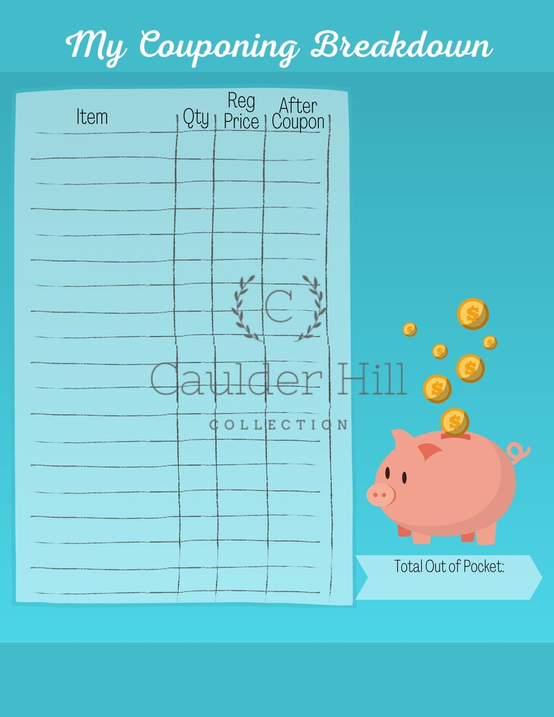 Printable Couponing Breakdown Worksheet Piggy Bank Design image 0